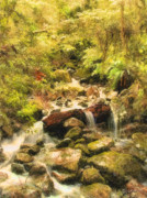 Pour Digital Art Posters - Misty Creek Poster by Dale Jackson