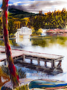 Canoe Mixed Media Prints - Misty Dream Print by Kip DeVore
