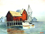 Zelma Hensel Posters - Misty Harbor Poster by Zelma Hensel