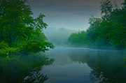 Moonlit Night Photos - Misty Lake by Geoffrey Coelho