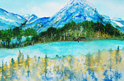 Flyfishing Painting Originals - Misty Montana Morning by Peg Simon-Panetta