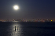 Moonlit Night Posters - Misty Moonlit Night On San Francisco Bay Poster by Scott Lenhart