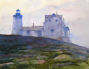 Pemaquid Lighthouse Painting Framed Prints - Misty Morning At Pemaquid Lighthouse Framed Print by William Beaupre