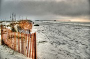 Beach Fence Digital Art Posters - Misty Morning At the Pier Poster by Michael Thomas
