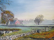 Red Barn. New England Prints - Misty Morning Barn Print by Robert Moore