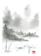 Chinese Landscape Posters - Misty Morning Fishing Village Poster by Sean Seal