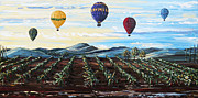 California Vineyard Painting Metal Prints - Misty Morning - Hot Air Balloons over Temecula Wine Vineyards Metal Print by Christine Krainock