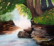 Waterfalls Paintings - Misty Morning by Janis  Tafoya