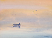 Misty Morning Peace Watercolor Painting Print by Michelle Wiarda
