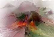 Digital Paintings Landscapes - Misty Mountain Abstract by David Lane
