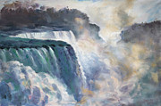 Waterfalls Painting Framed Prints - Misty Niagara Falls Framed Print by Ylli Haruni