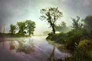 Fog Mist Digital Art Posters - Misty River Tree Reflections Landscape Poster by Christina Rollo