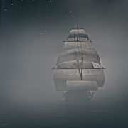 Rowboat Digital Art Posters - Misty Sail Poster by Lourry Legarde