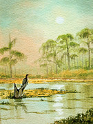 Blues And Greens Prints - Misty Sunrise At Wakulla Print by Bill Holkham