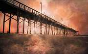 Topsail Island Photo Posters - Misty Sunrise Poster by East Coast Barrier Islands Betsy A Cutler