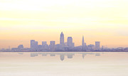 Browns Photo Prints - Misty sunrise in Cleveland Print by Kitty Ellis