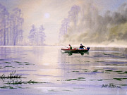 Steer Paintings - Misty Sunrise On The Lake by Bill Holkham