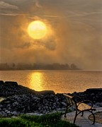Evening Scenes Posters - Misty Sunset at the Bay Poster by Jeff S PhotoArt