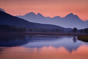 Lake Framed Prints - Misty Teton Sunset Framed Print by Andrew Soundarajan
