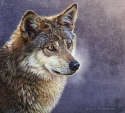 Montana Digital Art - Misty Twilight Timber Wolf by R christopher Vest