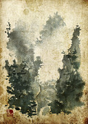 Chinese Watercolor Paintings - Misty Valley Altered by Sean Seal