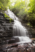 Spring Scenes Posters - Misty Waterfall Poster by Debra and Dave Vanderlaan