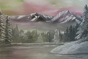 Nickel Yellow Paintings - Misty winter by Dawn Nickel