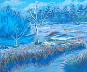 Fog Mist Pastels Prints - Misty Winter Stream Print by Frank Giordano