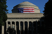 New England Acrylic Prints - MIT Great Dome with American Flag by Juergen Roth