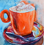 Coffee Drinking Painting Prints - Mit Schlagobers Bitte Print by Beverley Harper Tinsley