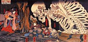Woodcut Paintings - Mitsukini defying the Skeleton by Pg Reproductions
