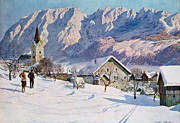 Snowy Scene Paintings - Mitterndorf in Austria by Gustave Jahn