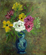 Forget Me Not Paintings - Mixed Cosmos in a blue vase.  by Zoe Schminke