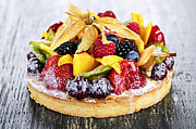 Cakes Posters - Mixed tropical fruit tart Poster by Elena Elisseeva