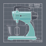 Mid Century Design Drawings Posters - MixMaster - aqua Poster by Larry Hunter