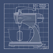 Mid Century Design Drawings Posters - MixMaster - blueprint Poster by Larry Hunter