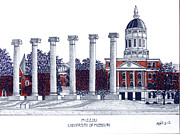 Pen And Ink College Drawings Posters - Mizzou - University of Missouri Poster by Frederic Kohli