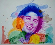 Splatter Drawings - MJ Color splatter by Sruthi Murali