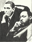 Martin Luther King Jr Drawings Posters - MLK And President Obama Poster by Pics By Nick