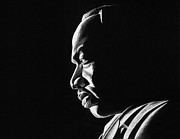 Leaders Drawings Prints - MLK Memorial Print by Jeff Stroman