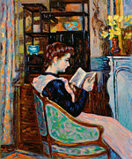 Book Painting Framed Prints - Mlle Guillaumin Reading Framed Print by Jean Baptiste Armand Guillaumin