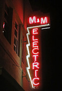 Downtown Pomona Posters - MM Electric Sign at Night Poster by Gregory Dyer