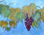 Grape Leaves Posters - Mm Mm Merlot Poster by Phiddy Webb
