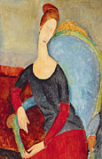 Lady In Red Painting Framed Prints - Mme Hebuterne in a Blue Chair Framed Print by Amedeo Modigliani