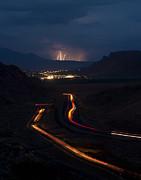 Highway Lights Prints - Moab Storm Print by Adam Romanowicz
