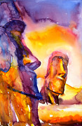 Travel Photography Painting Prints - Moai Statues- Easter Island Print by Ryan Fox