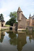 Moated Castle Prints - Moated Castle La Clayette Print by Christiane Schulze