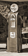 Strong Vertical Images Prints - Mobilgas Special - Wayne Pump - Sepia Print by Mike McGlothlen