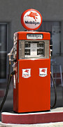 Strong Vertical Images Prints - Mobilgas - Wayne Double Gas Pump Print by Mike McGlothlen