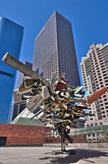 Downtown Metal Prints - MOCA Bunker Hill Los Angeles CA  Nancy Rubins Sculpture Vertical Metal Print by David  Zanzinger